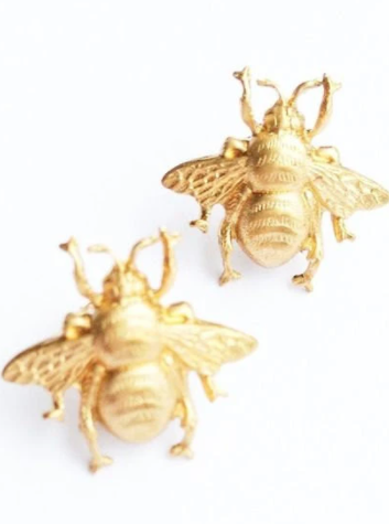 Gold Bumblebee Stud Earrings