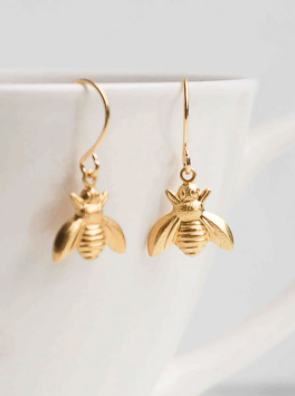 Gold Bee Dangle Earrings