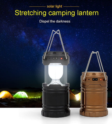 Solar Charging/Rechargable 6 LEDs Camping Lantern - Collapsible