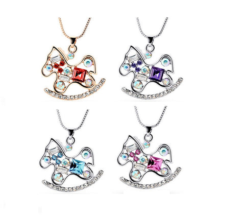 Cute Crystal Rhinestone Horse Necklace