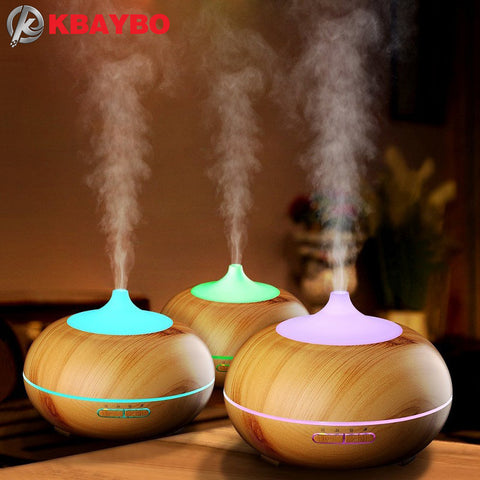 300ml - Aroma Essential Oil Wood Grain Ultrasonic Diffuser