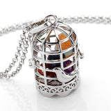 Chakra Stone Bird Cage Healing Necklace or Essential Oil with Lava Stone - 2 Options!