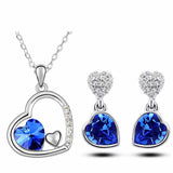 Double Heart Crystal Necklace (18K Gold Plated) - Choose from Different Colors