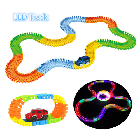 Glowing Race Car Sets with Flexible Twister Track with LED Glow in the Dark Mini Cars