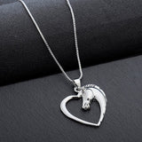 Hollow Heart Horse Pendant Necklace - Silver plated Horse
