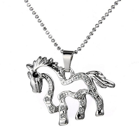 Cute Rhinestone Horse Necklace