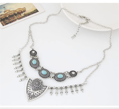 Vintage Bohemian Necklace - Choice of Gold or Silver Colors