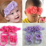 Baby Chiffon Flower Headband & Matching Barefoot Sandals with Rhinestones!