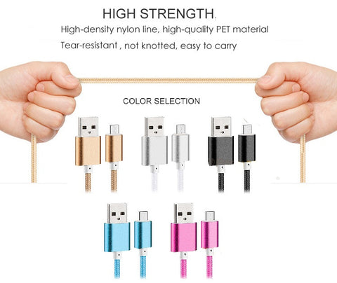 Durable Nylon Cell Phone USB Charger -   For Samsung/Androids & Iphones (5,5s,6,6plus)