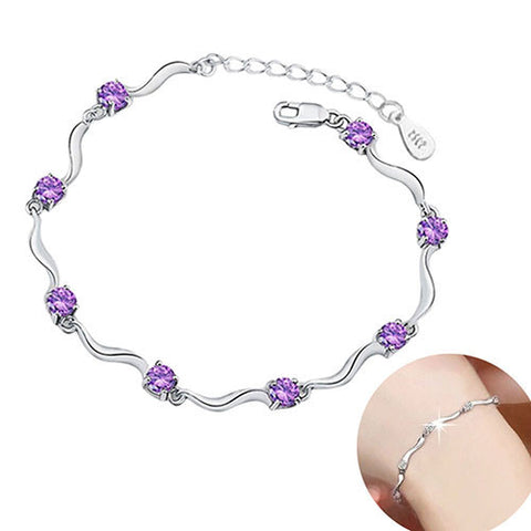 Crystal and Silver Elegant Fashion Bracelet  - Two Colors to choose from