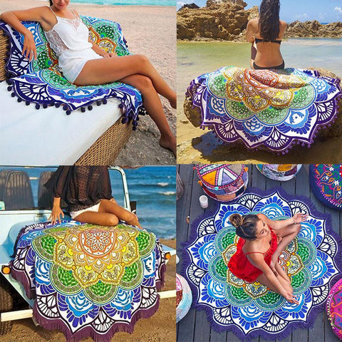 Tassel  Lotus Print for Yogo Mat,Beach Towel, or Bikini Cover-Up Blanket