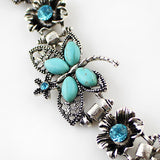 Retro Style Blue Rhinestone Butterfly Antique Bracelets For Women
