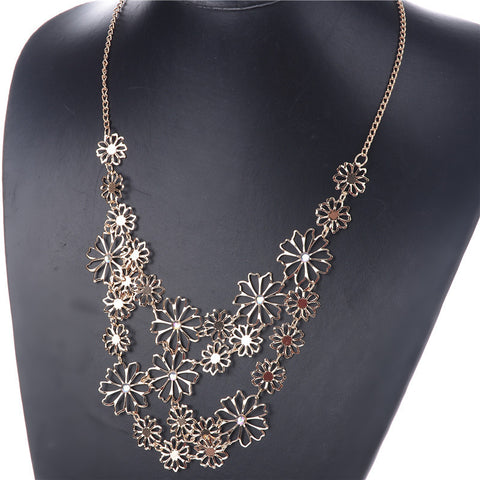 FREE- Charming Hollow  Gold Flowers (with Crystal Inlaid) Statement Necklace!