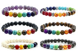 Chakra Balance & Healing Bracelet with  Black Lava Stones for Essential Oils