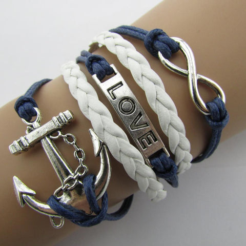 Multilayer Leather & Cord Braided Charm Bracelets  -Choose from many Styles!