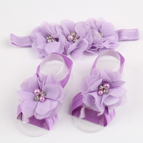 FREE - Baby Chiffon Flower Headband & Matching Barefoot Sandals with Rhinestones!