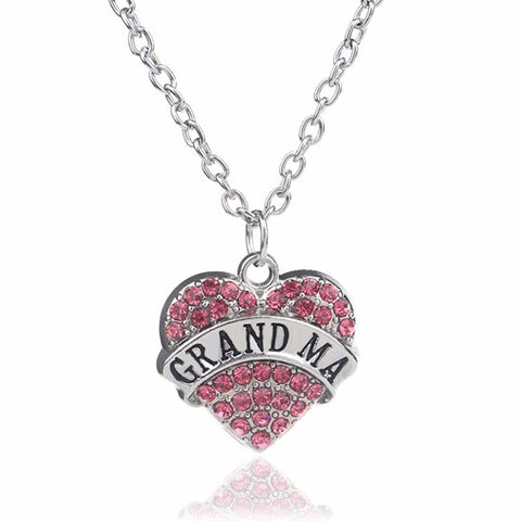 Grandma, Mom, Daughter, Sister, Aunt Heart Rhinstone Necklace for Family! (Many Styles to Choose From)