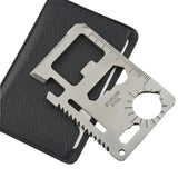 Multi Tools 11 in 1 Multifunction Outdoor Survival Pocket Military Credit Card Knife Silver