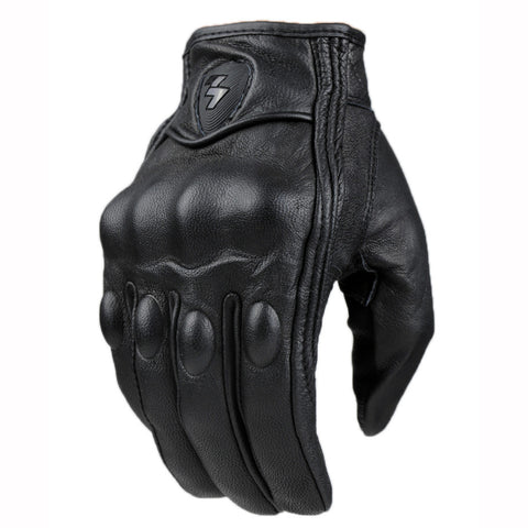 Black Motorcycle Gloves Protective Gear Real Leather Full Finger  Motocross Glove