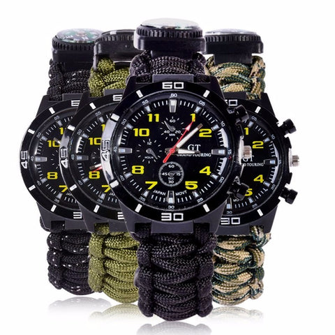 Compass Survival Watch & Bracelet With  Paracord, Fire Starter, Scraper, Whistle