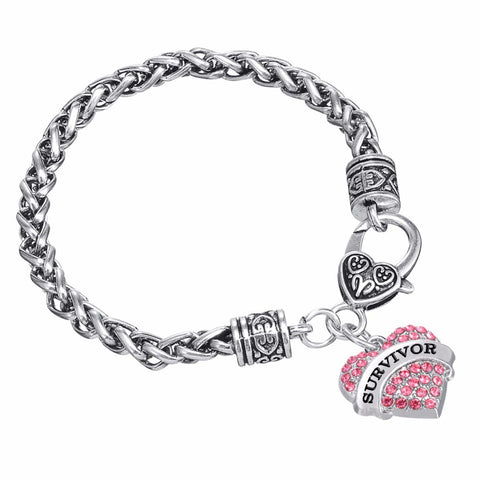 "FREE - Inspirational Bracelet - ""Believe"", ""Hope"", & ""Survivor"" Rhinestone Heart Bracelets (3 Colors)"