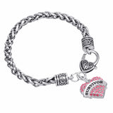 Inspirational Bracelet - Believe, Hope, & Survivor Rhinestone Heart Bracelets (3 Colors)