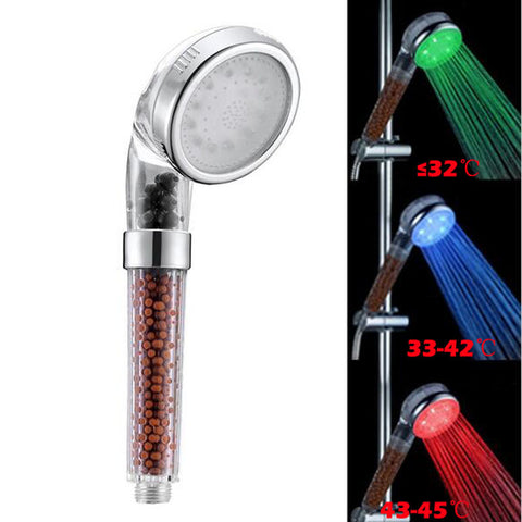 LED Spa shower head  with Temperature sensor with 3 Colors
