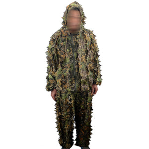 3D Leaf Camouflage Hunting Suit- Polyester Outdoor Camo Suit -  Military