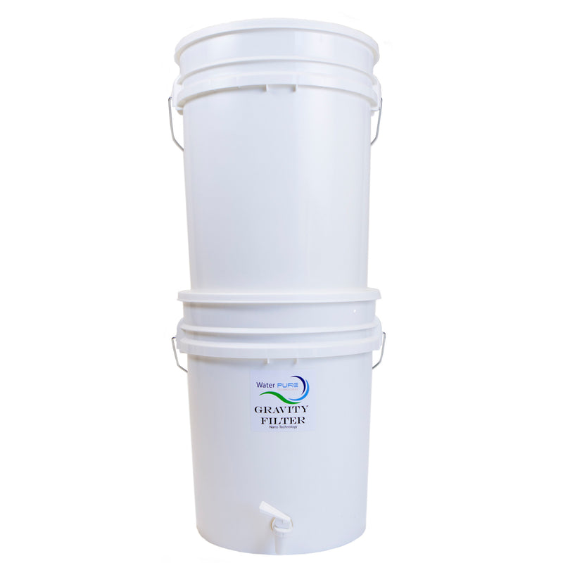 Comes with Gravity Filter, 2 pails & 2 lids (pre-drilled), plus spigot assembly