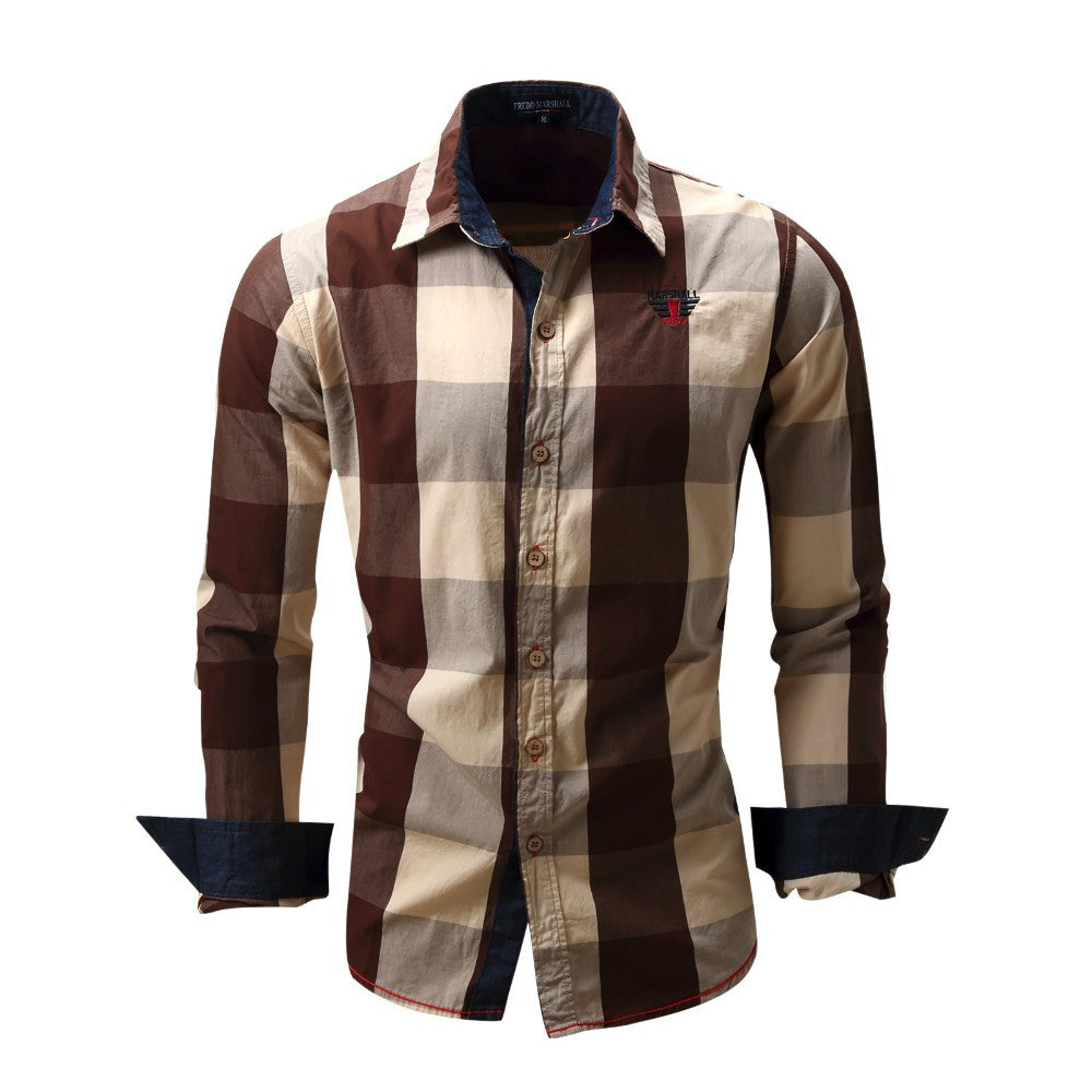 Plaid Camisa Social Long Sleeve Shirts