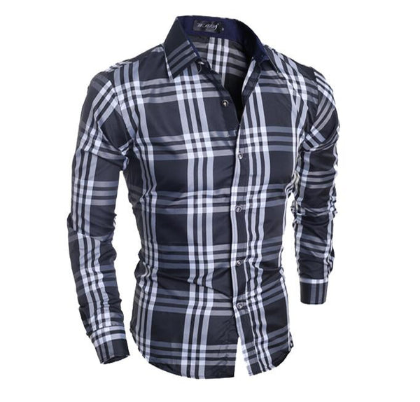 'S Striped Plaid Long-Sleeve Shirt
