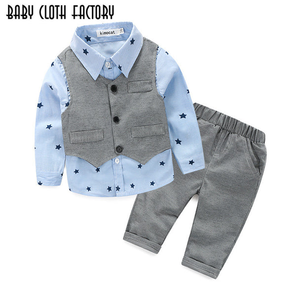 Baby Boys Wedding  Shirt+Vest+Pants