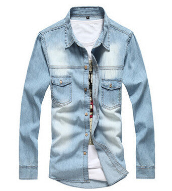 Denim Long Sleeve Light Blue Jeans Shirt