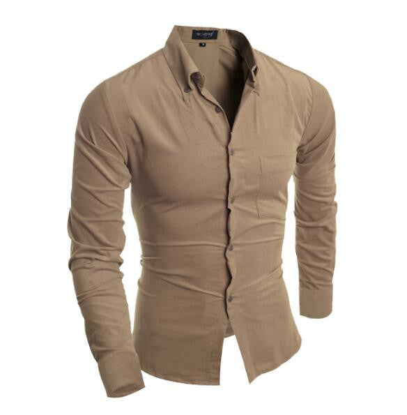 Slim Fit Long Sleeve Solid Color Corduroy Shirt
