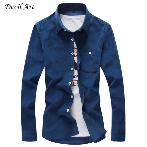 Corduroy Casual Slim Fit Long Sleeve Shirt