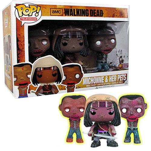 Walking Dead - Michonne and Her Pets - GITD - (3 Pack)