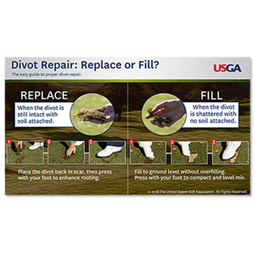 Divot Repair: Replace or Fill: Course Care Educational Poster
