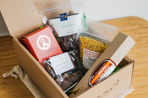 La Cocina gift box filled with sweet and savory food items