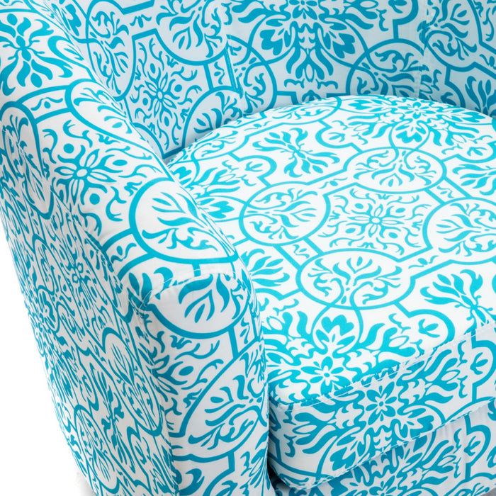 Accent Barrel Chair with Ottoman Round Arms Curved Back French Print Script