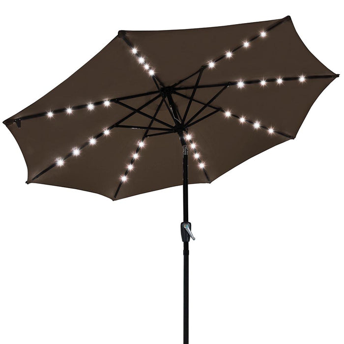 9' FT 8 Ribs Patio Outdoor Aluminium Umbrella Solar LED Garden Parasol Sunshade