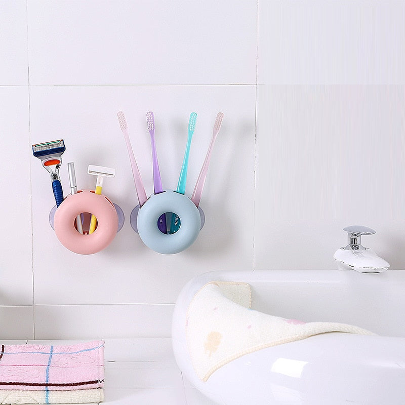 1 PCs candy color Toothbrush Holder Bathroom Kitchen Family Toothbrush Suction Cups Holder Wall Stand Hook Cups Organizer