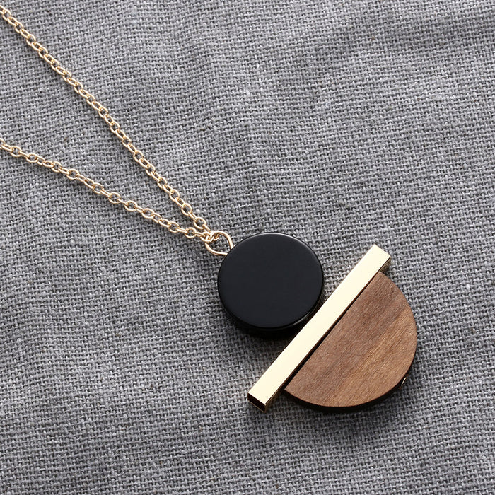 Geometric Gold Chain  Circular Resin Wood Pendant  Necklace