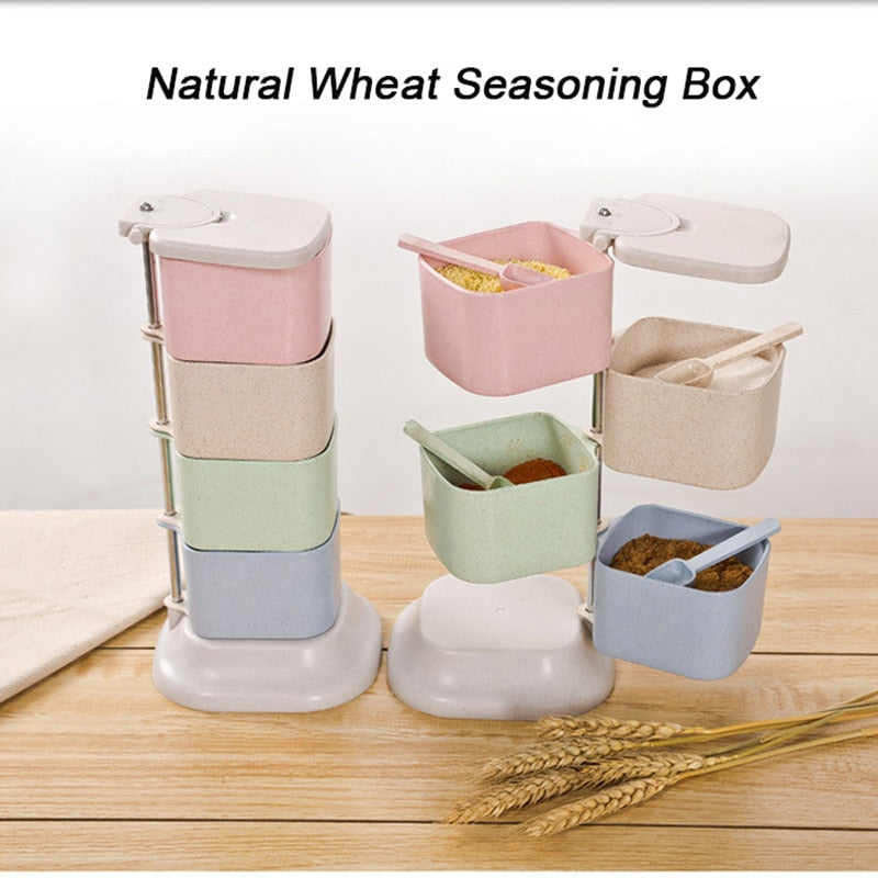 1 Set Multi-Tier 360 Degree Rotating Condiment Set Spice Storage Rack with Spoon Flavor Seasoning