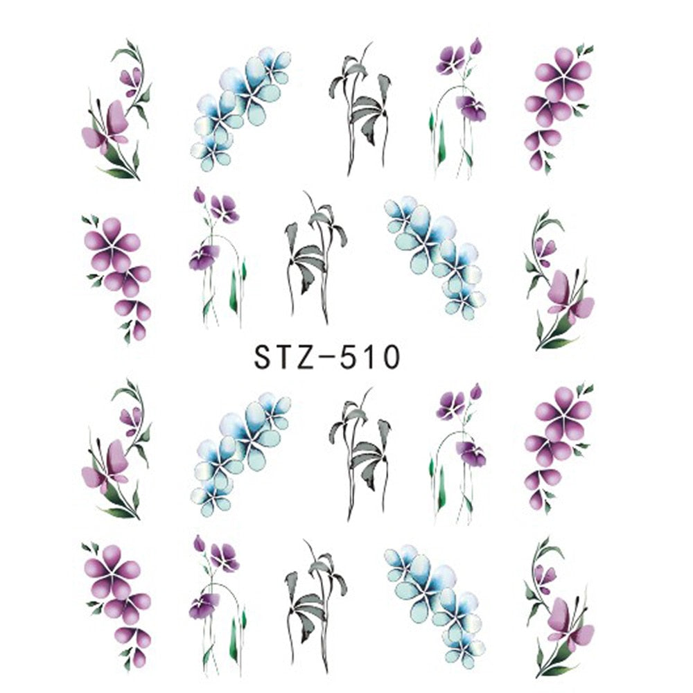 1 PC Colorful Purple Fantasy Flowers Nail Stickers - Toyzor.com