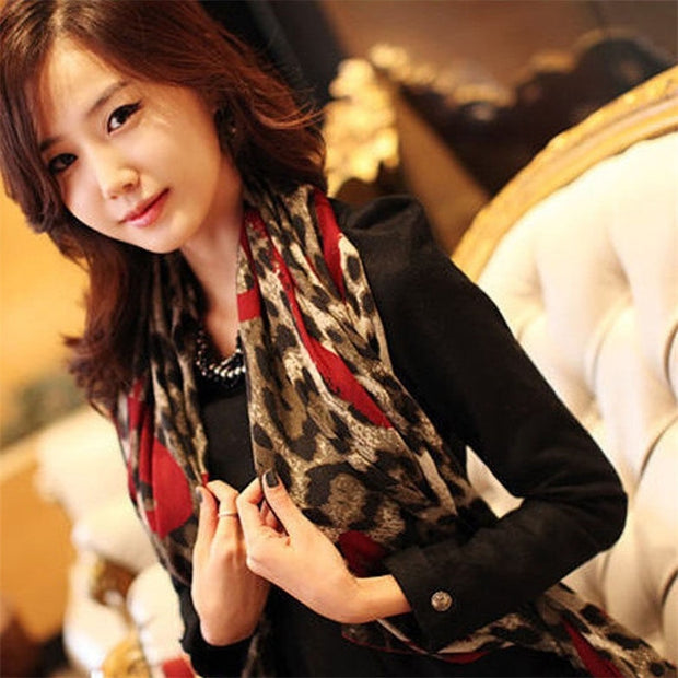 Dotted Leopard Style Long Soft Silk Chiffon Scarf