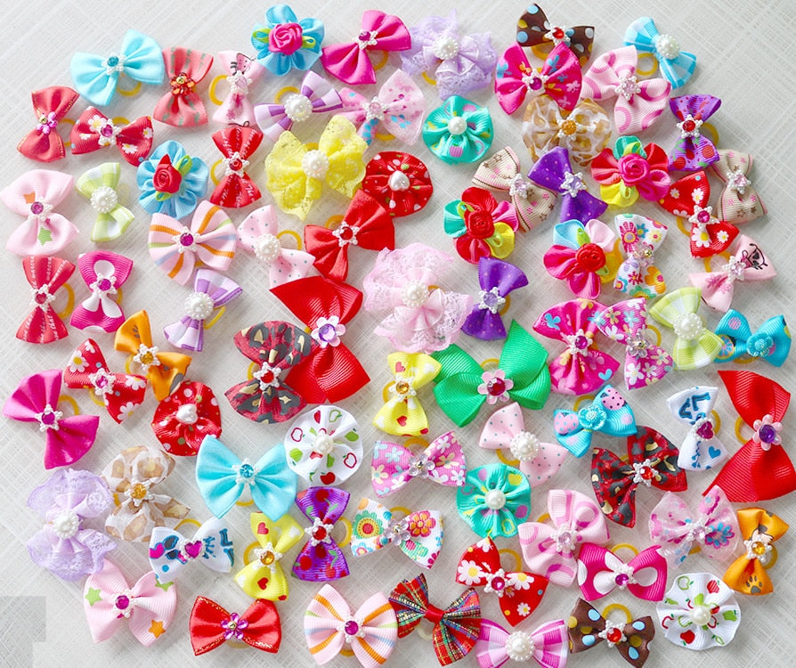 Mix Style Top Quality Pearls Pet Hair Bows