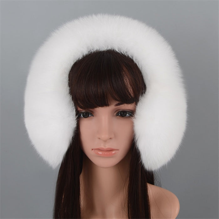 100% Real Fox Fur Earmuffs for Winter  Natural Racoon