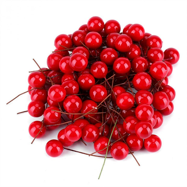 100pcs Artificial Red Holly Berry Christmas DIY Home Garden Decorations Christmas Supplies
