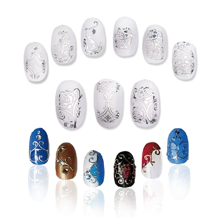 108 PCS/Sheet Gold and Silver 3D Nail Art Stickers - Toyzor.com