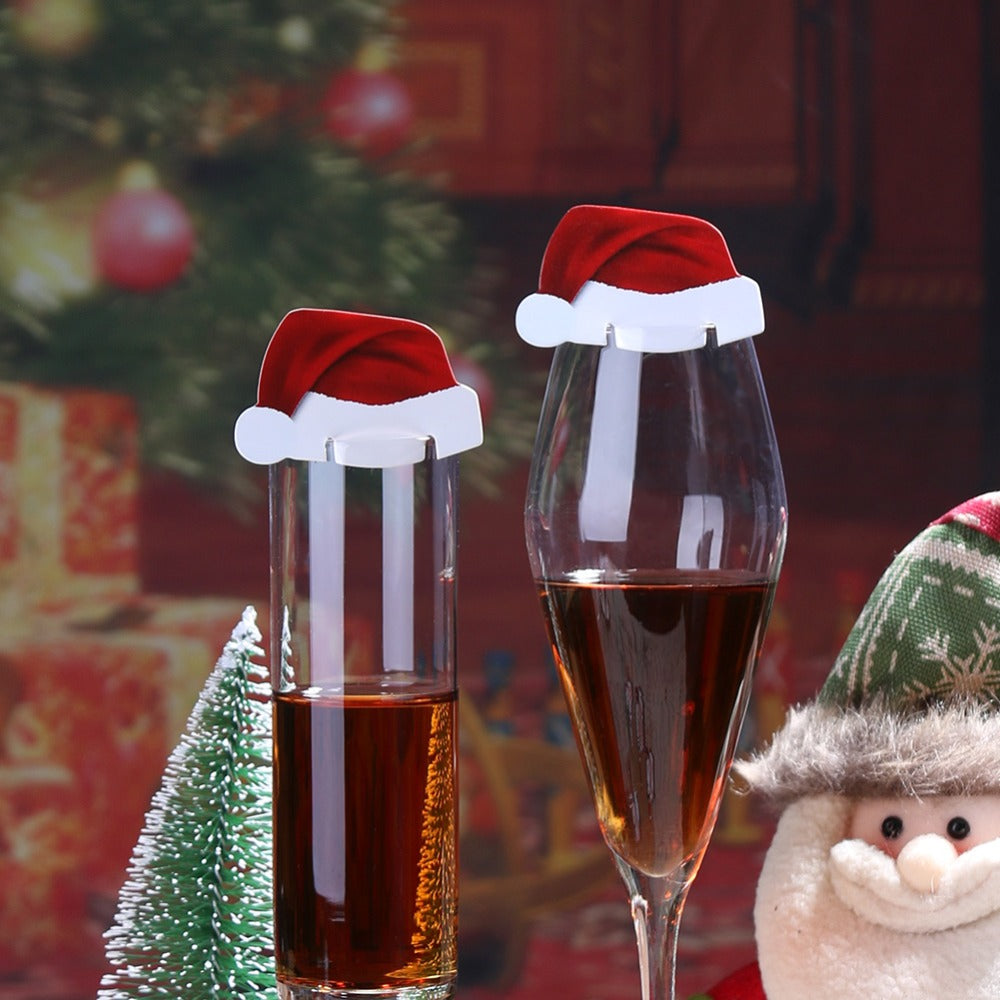 10Pcs/lot Christmas Santa Hat Wine Glass Decoration New Year Party Supplies
